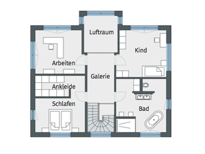 Grundriss Obergeschoss_Weberhaus Stadtvilla für zwei Karg