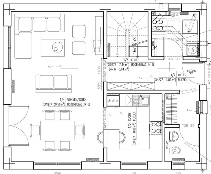 Grundriss Erdgeschoss DAN-WOOD-Family 119 V1