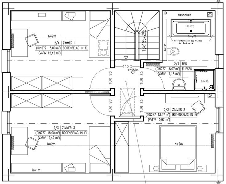 Grundriss Obergeschoss DAN-WOOD-Family 119 V1