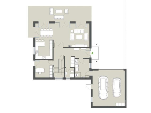 Grundriss Erdgeschoss Stadtvilla Cesena von Gussek Haus