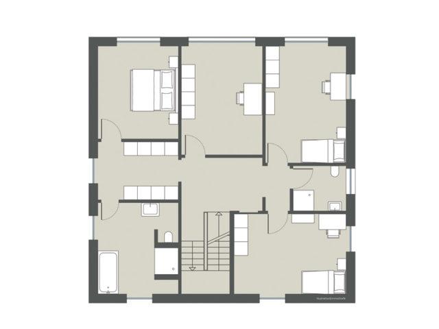 Grundriss 1. Obergeschoss Stadtvilla Cesena von Gussek Haus