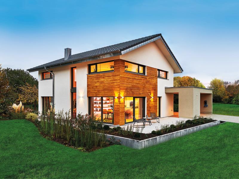 Musterhaus Balance von Fertighaus Weiss Terrasse