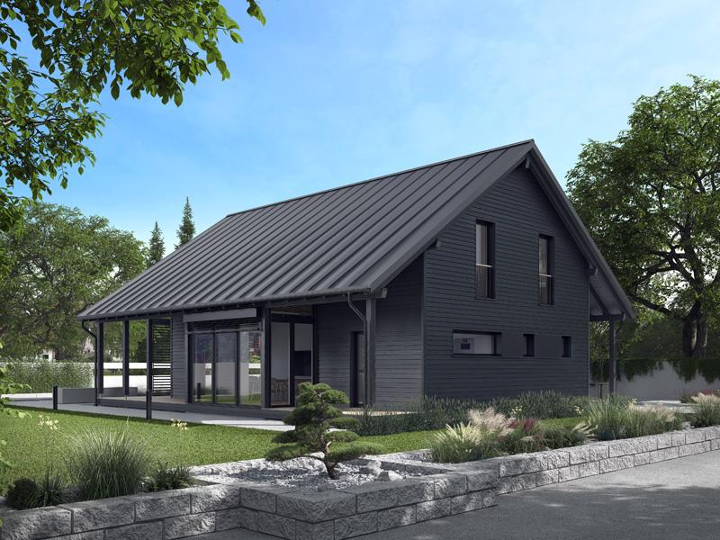 Architekturentwurf Ausblick von Baufritz, Terrasse, Wintergarten