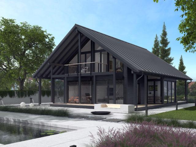Architekturentwurf Ausblick von Baufritz Terrasse