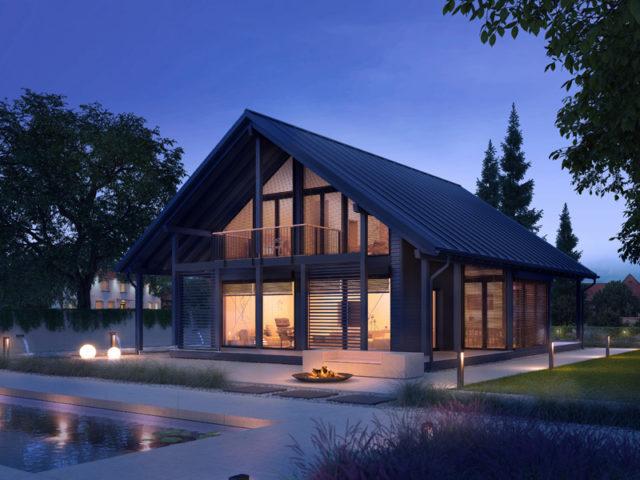 Architekturentwurf Ausblick von Baufritz Terrasse Balkon Nacht