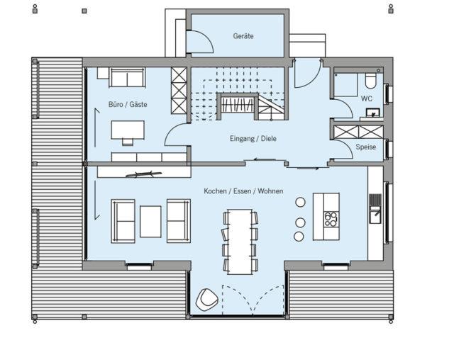 Architekturentwurf Ausblick von Baufritz, EG