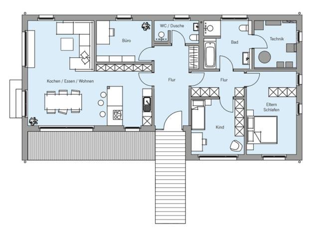 Architekturentwurf Retro von Baufritz, EG