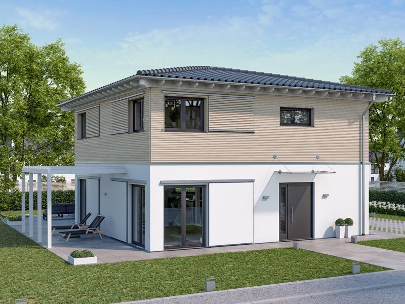 Architekturentwurf Stadtfein von Baufritz, Eingang, Pergola, Garten