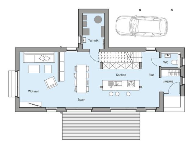 Architekturentwurf Lichtblick von Baufritz, EG