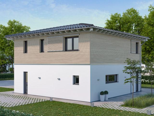 Architekturentwurf Stadtfein von Baufritz Garten Fassade