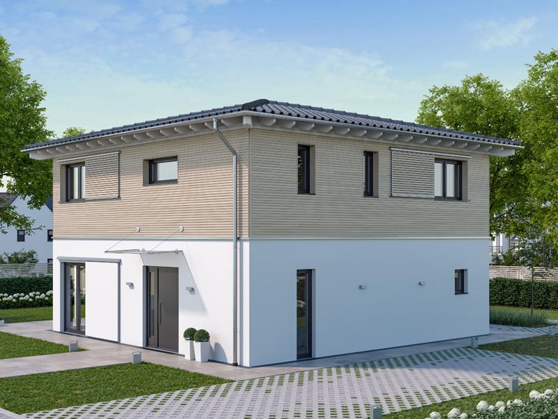 Architekturentwurf Stadtfein von Baufritz, Frontseite, Einfahrt