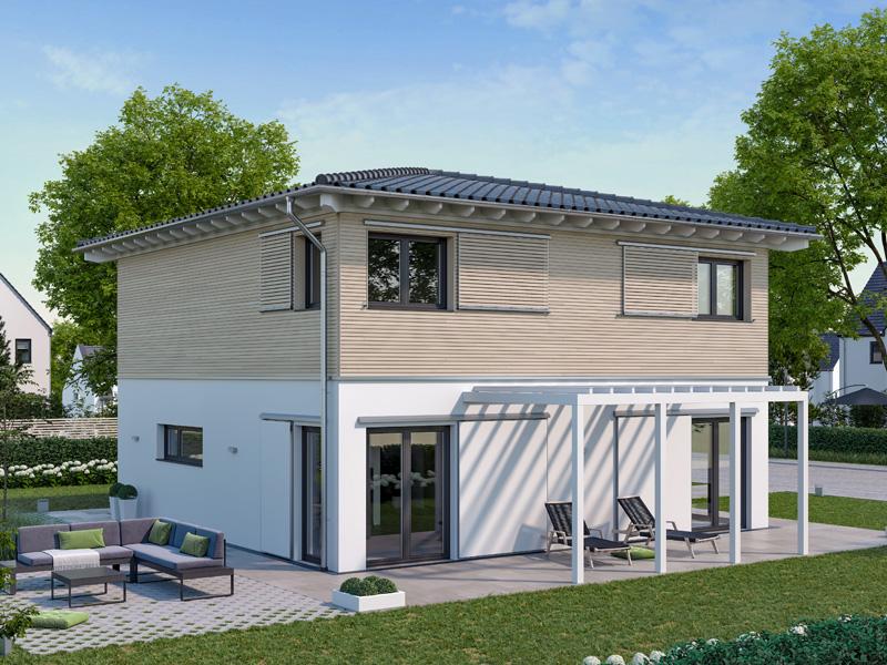 Architekturentwurf Stadtfein von Baufritz Terrasse Garten Pergola Seitenansicht