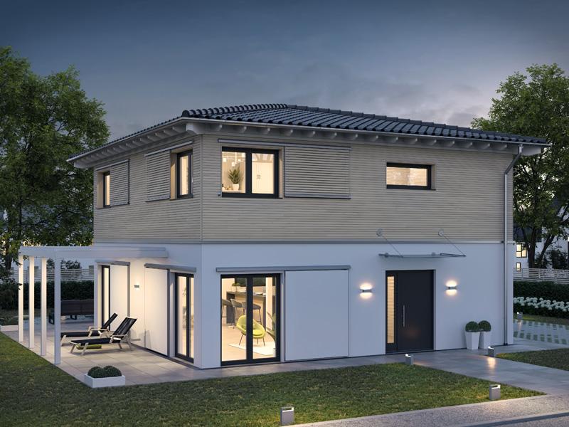 Architekturentwurf Stadtfein von Baufritz Terrasse Eingang Nacht