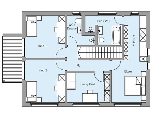 Architekturentwurf Kontur von Baufritz, Grundriss, OG