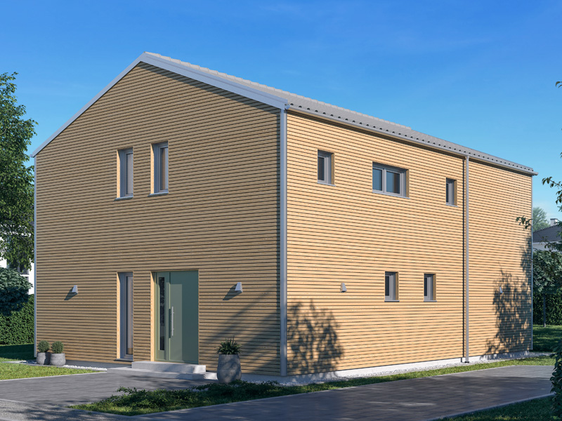 Architekturentwurf Kontur von Baufritz Seitenansicht Eingang