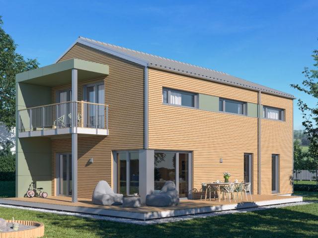 Architekturentwurf Kontur von Baufritz, Terrasse, Garten, Balkon
