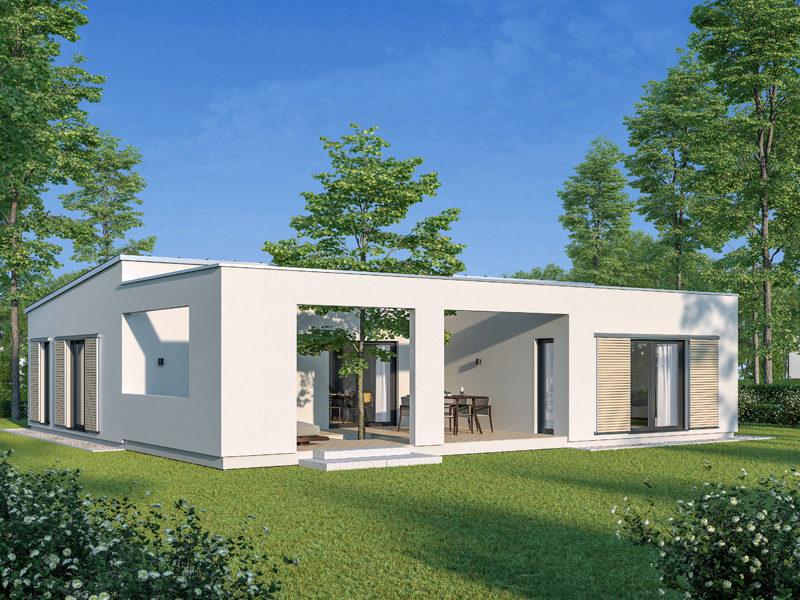 Architekturentwurf Atrium von Baufritz Terrasse