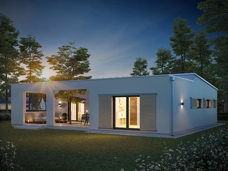 Architekturentwurf Atrium von Baufritz bei Nacht