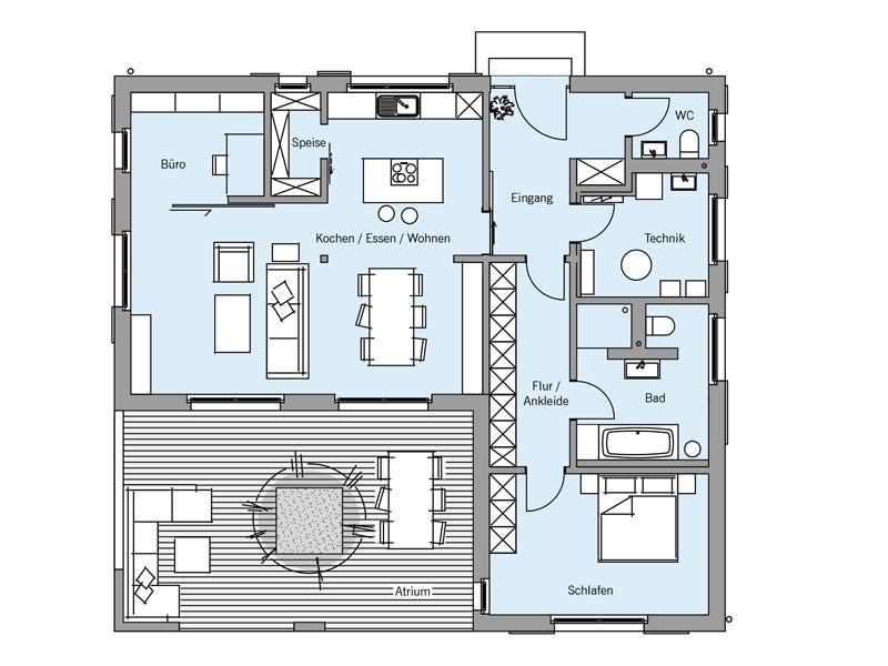 Grundriss Architekturentwurf Atrium von Baufritz