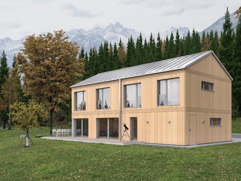 Architekturentwurf Monolith von Baufritz Gartenseite