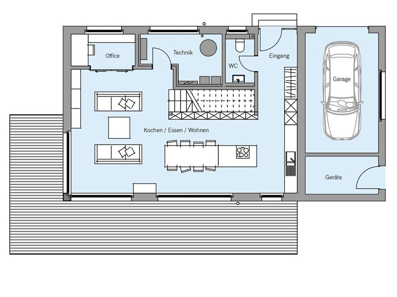 Grundriss Erdgeschoss Architekturentwurf_Monolith von Baufritz