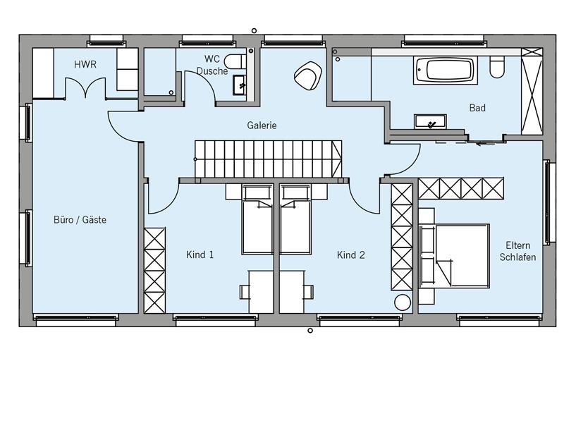 Grundriss Obergeschoss Architekturentwurf_Monolith von Baufritz