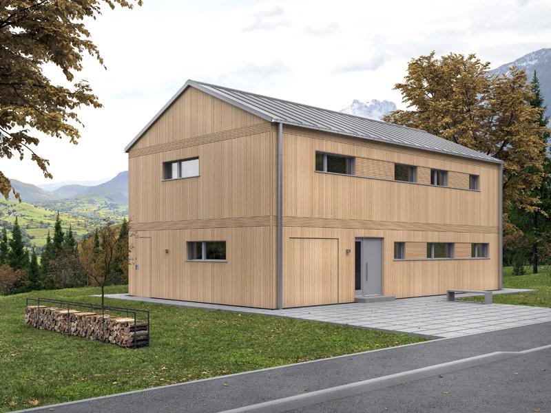 Architekturentwurf Monolith von Baufritz Eingang
