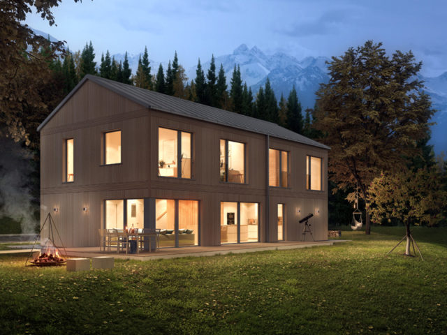 Architekturentwurf Monolith von Baufritz Nacht Gartenseite