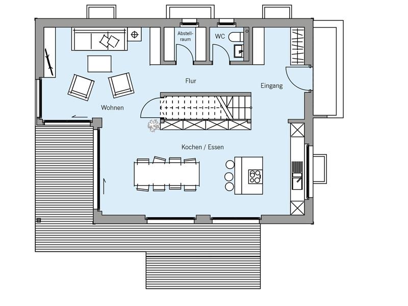 Grundriss Erdgeschoss Architekturentwurf Kubus von Baufritz
