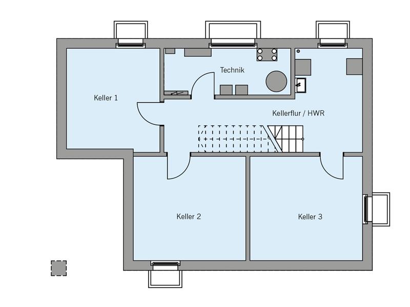 Grundriss Kellergeschoss Architekturentwurf Kubus von Baufritz
