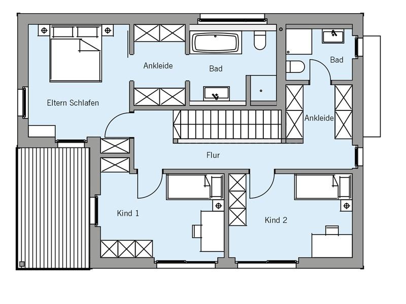 Grundriss Obergeschoss Architekturentwurf Kubus von Baufritz