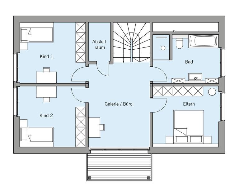 Grundriss Obergeschoss Architekturentwurf Klassik von Baufritz