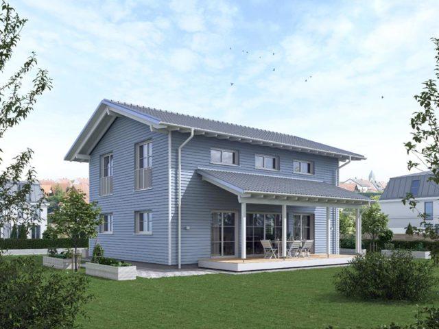 Architekturentwurf Ideenreich Nordisch von Baufritz Terrassenseite