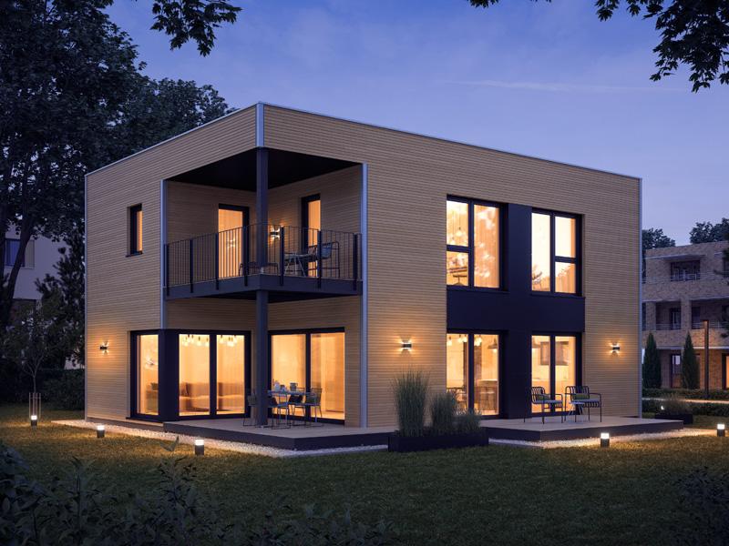 Architekturentwurf Kubus von Baufritz Nacht Terrassenansicht