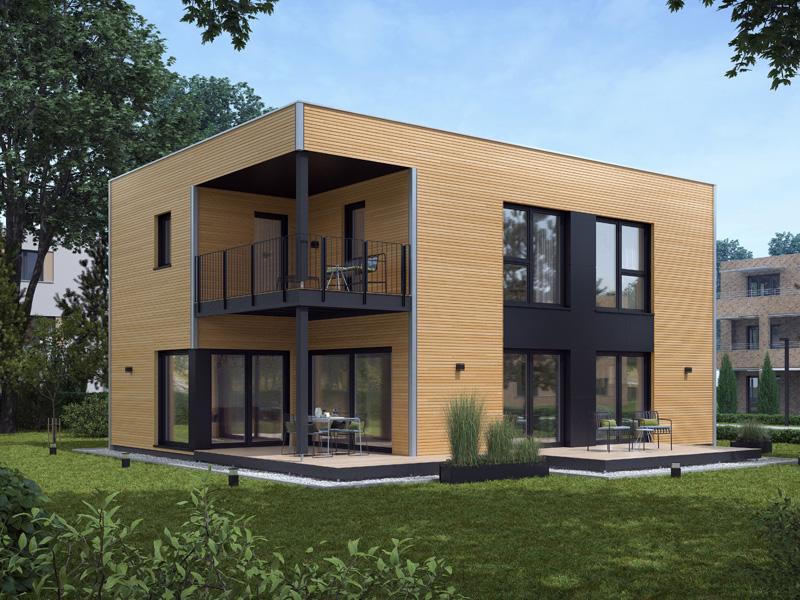 Architekturentwurf Kubus von Baufritz Seitenansicht Terrasse Balkon