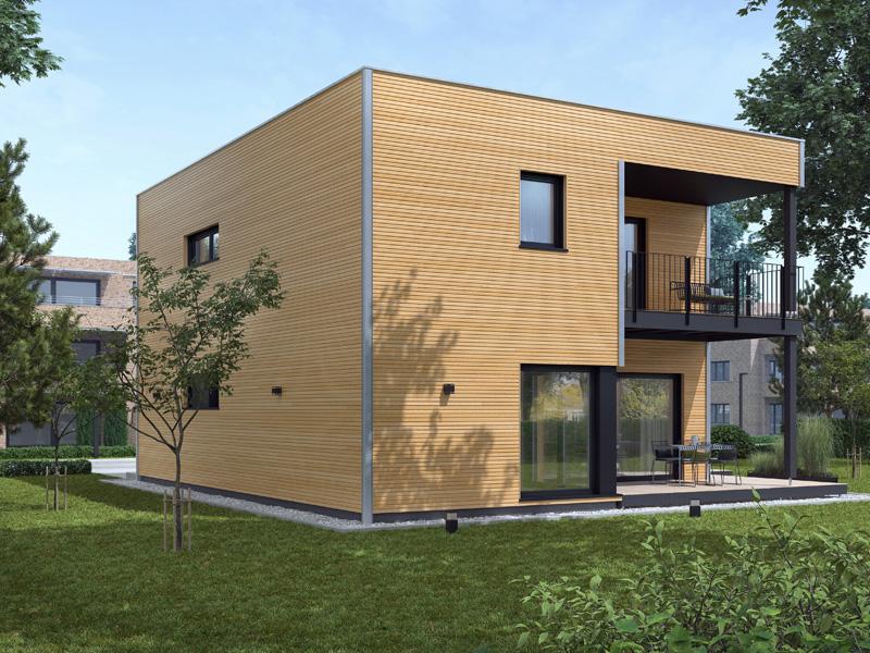 Architekturentwurf Kubus von Baufritz Terrasse Balkon