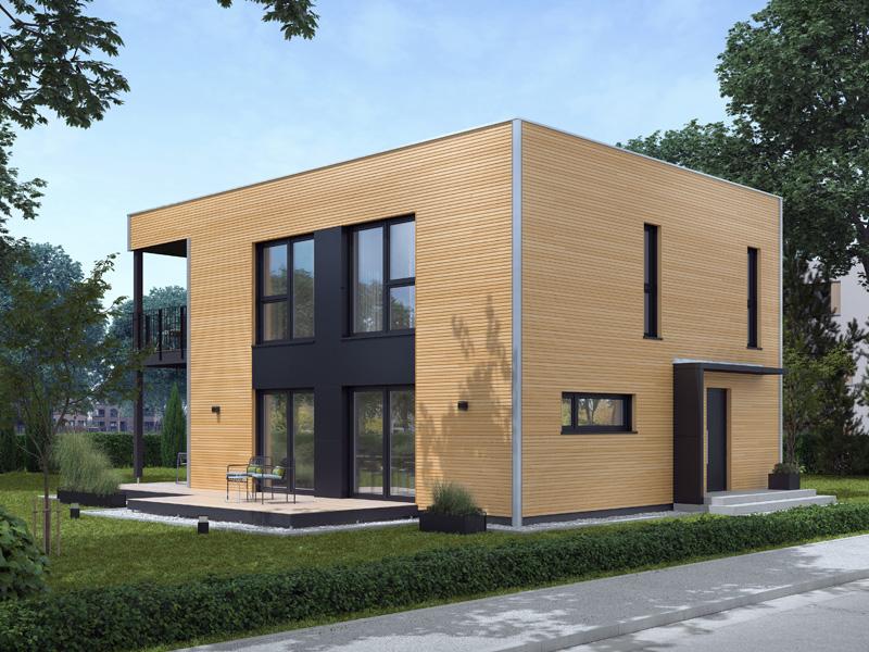 Architekturentwurf Kubus von Baufritz Glasfront Eingang Terrasse