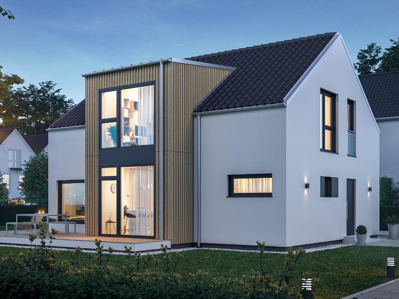 Architekturentwurf Urban von Baufritz Nacht Holzverschalung Erker