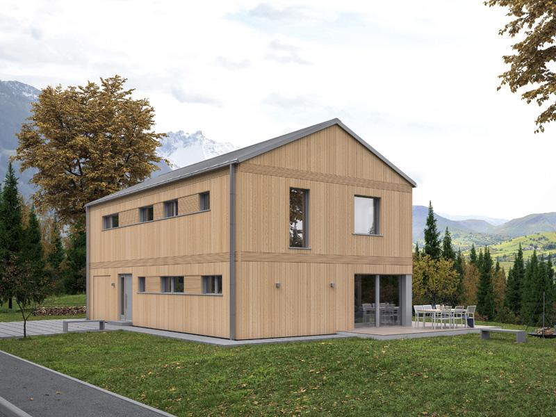 Architekturentwurf Monolith von Baufritz Eingang Terrasse