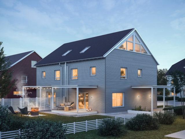 Architekturentwurf Doppelhaus von Baufritz Terrassenseite