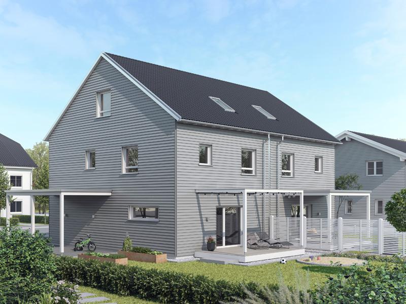 Architekturentwurf Doppelhaus von Baufritz Seitenansicht