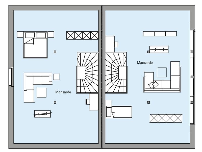 Grundriss Dachgeschoss Architekturentwurf_Doppelhaus von Baufritz
