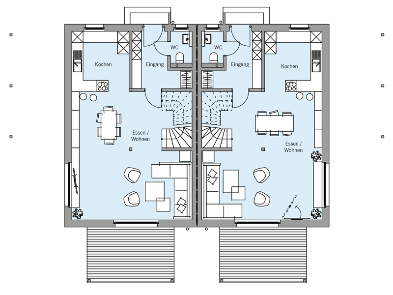Grundriss Erdgeschoss Architekturentwurf_Doppelhaus von Baufritz