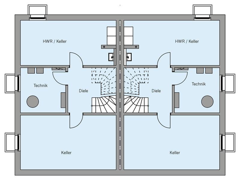 Grundriss Kellergeschoss Architekturentwurf_Doppelhaus von Baufritz