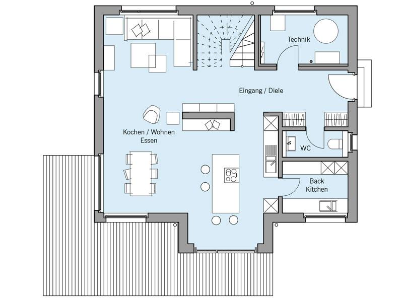 Grundriss Erdgeschoss Architekturentwurf_Urban von Baufritz