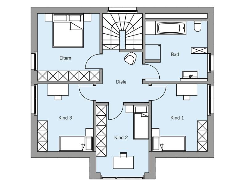 Grundriss Obergeschoss Architekturentwurf_Urban von Baufritz