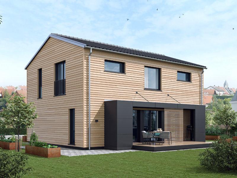 Baufritz Ideenreich Feinschliff Außenansicht Terrassenseite2