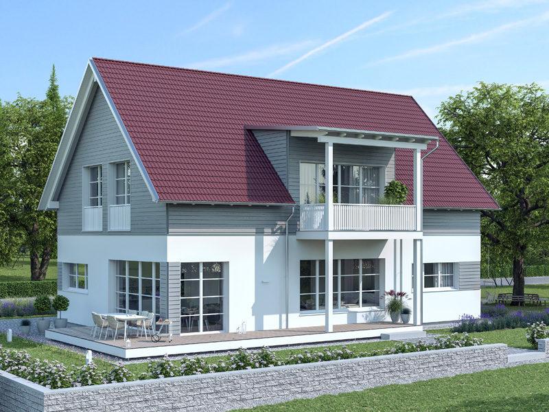 Architekturentwurf Klassik von Baufritz, umlaufende Terrasse, vorgesetzter Balkon
