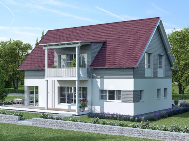 Architekturentwurf Klassik von Baufritz Zwerchgiebel Holzverschalung