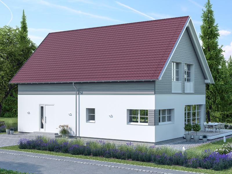 Architekturentwurf Klassik von Baufritz Terrasse